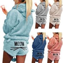купить Women Girls Plus Size Winter Thicken Pajamas Set Cute Cat Meow Embroidered Short Pants Long Sleeve Hooded Ears Sweatshirt Warm дешево