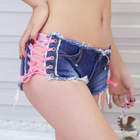 Summer Club Sexy Girls Dance Jeans Shorts Short Pants Beach Low Waist Lace up Denim Shorts