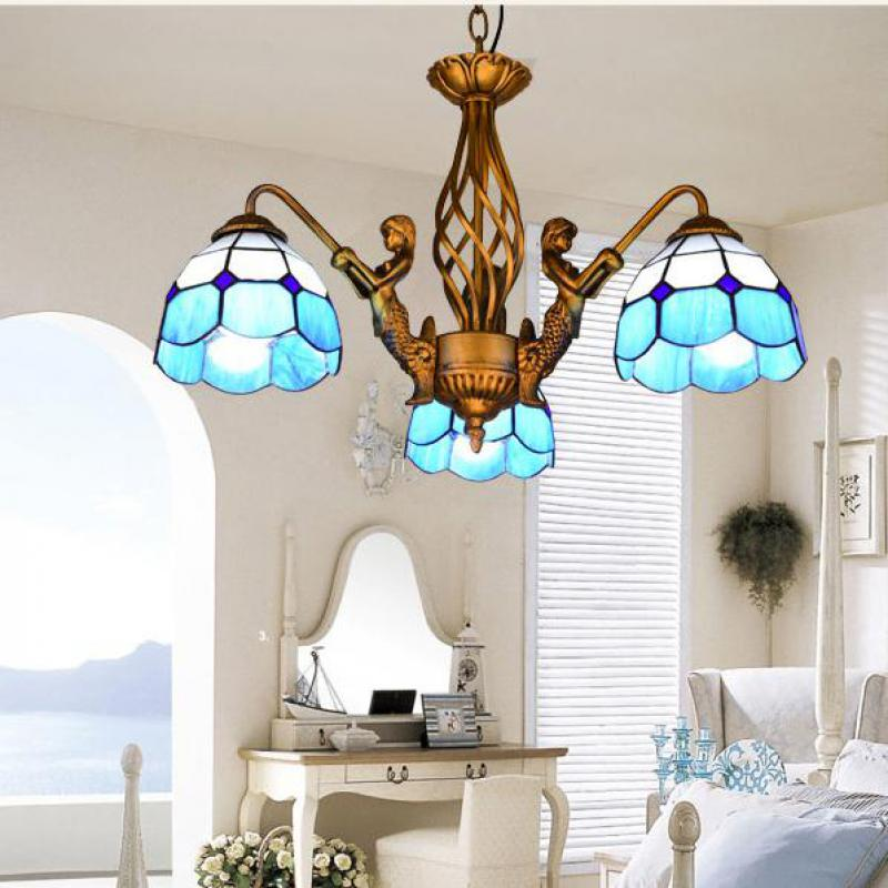 Art salon Novelty Mermaid pendant lights with colored glass lampshade for Restaurant Pastoral glass hanging lamp Tiffany lampe vintage 10 tiffany frosted colored glass
