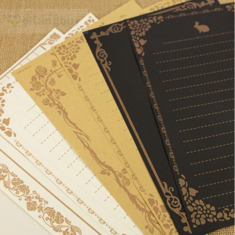 80sheets Vintage Letter Paper Black Kraft Writing Paper Letter Pad
