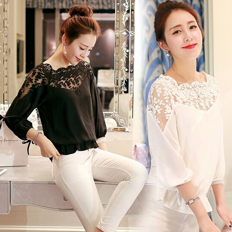 Summer Large size 2XL Feminine   Blouse   Version Loose Stitching Lace Blusa Feminina   Shirt   Women Casual Chiffon Lace   Blouse