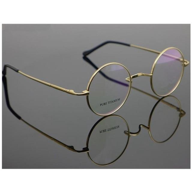 c6d2af36791 Pure Titanium Vintage small Round 42 44mm John Lennon Harry Potter Eyeglass  Frames Myopia Rx able Glasses