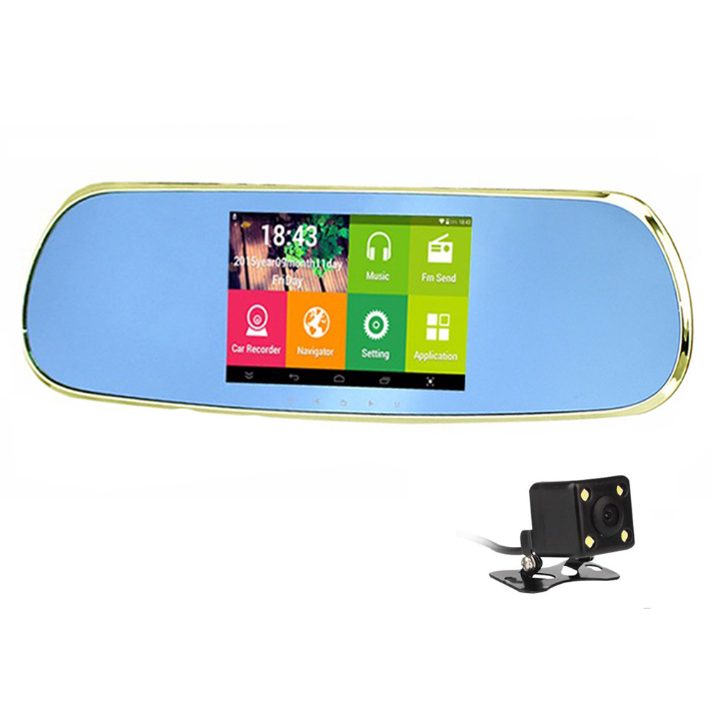 dual lens Car DVR 5 inch Android4.4 GPS rearview mirror dash cam  camera FHD 1080P WIFI FM Bluetooth Video recorder 16GB ROM 5 inch car camera dvr dual lens rearview mirror video recorder fhd 1080p automobile dvr mirror dash cam