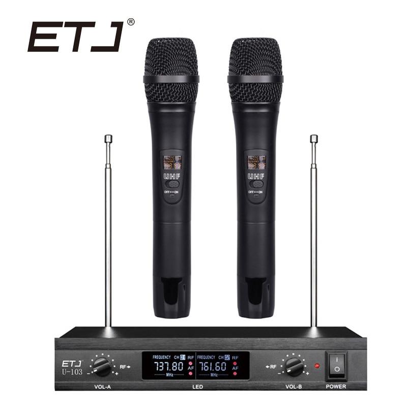 ETJ Microfone Sem Fio com Tela de 50 M Distância 2 Canais Handheld Sistema de Microfone Sem Fio Karaoke Microfone U-103
