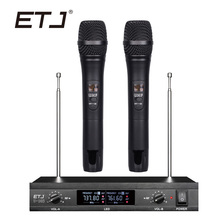 ETJ Wireless Microphone with Screen 50M Distance 2 Channel Handheld Mic System Karaoke Wireless Microphone U-103 freeboss m 2280 50m distance 2 channel headset mic system karaoke party church uhf wireless microphones