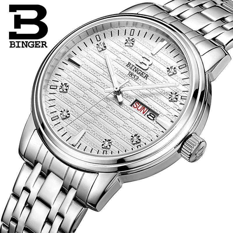 Montres pour hommes de suisse montres de luxe de marque BINGER ultra mince horloge à Quartz pleine montre en acier inoxydable glowwatch B3036-in Montres à quartz from Montres    2