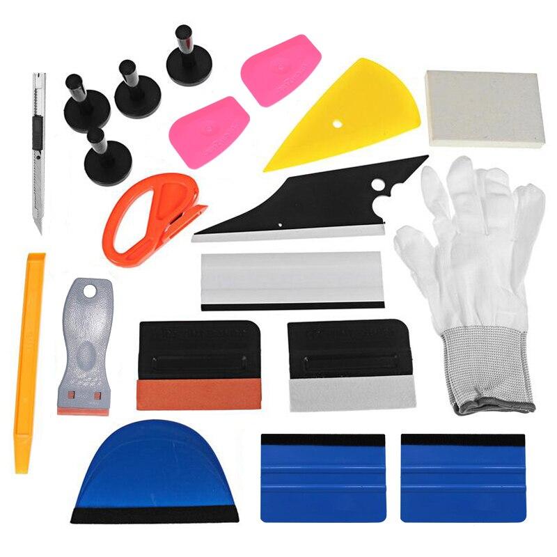21 pièces professionnel voiture fenêtre Wrap vinyle outils Kit grattoir grattoir rasoir gant aimants universel