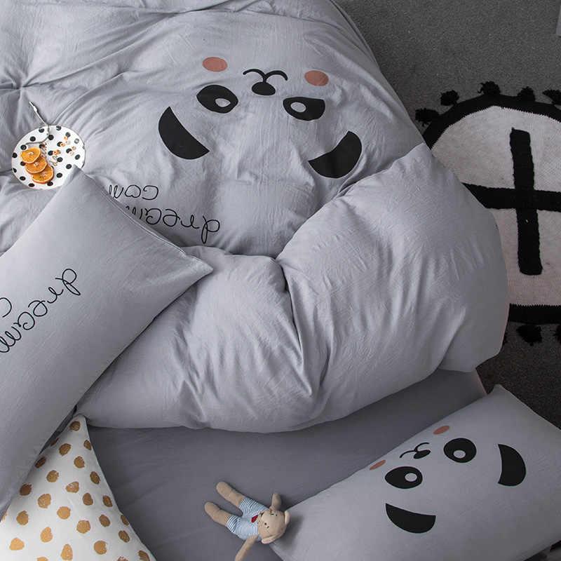 ParkShin Cartoon Panda Bedding Set Gray Duvet Cover Set Double Queen King Bed Linen Flat Sheet Pillowcase Decor Home Textiles