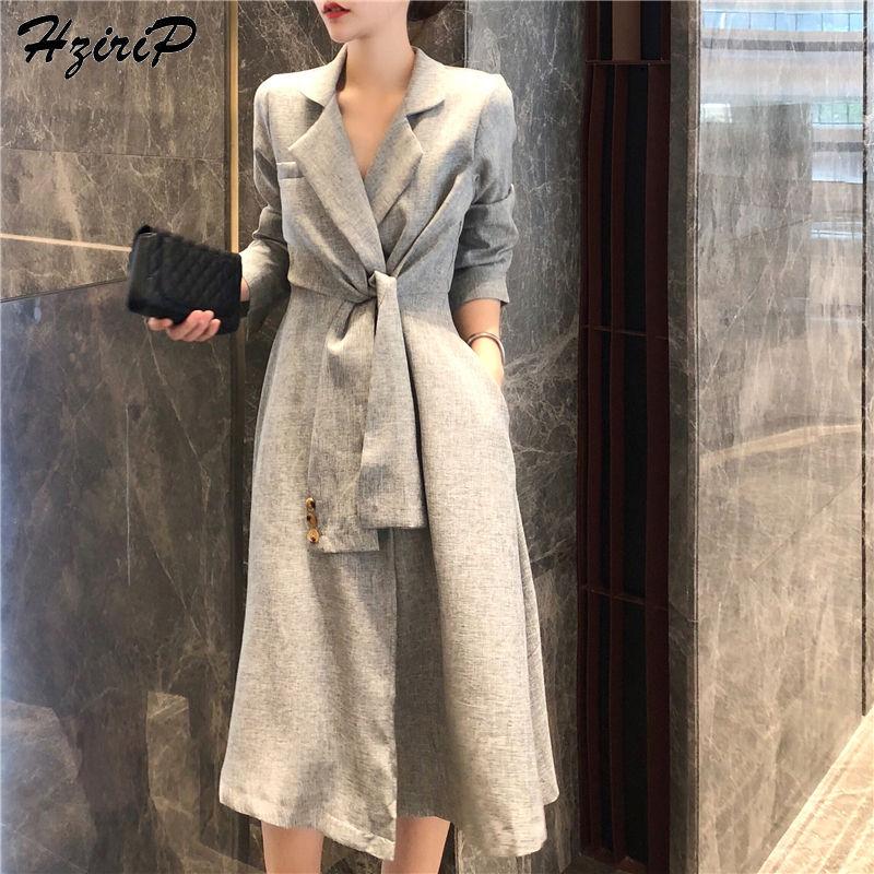 HziriP 2018 новые стильные осенние Для женщин отложным воротником пальто одежда с длинным рукавом элегантные модные текстуры тонкий однотонный ...