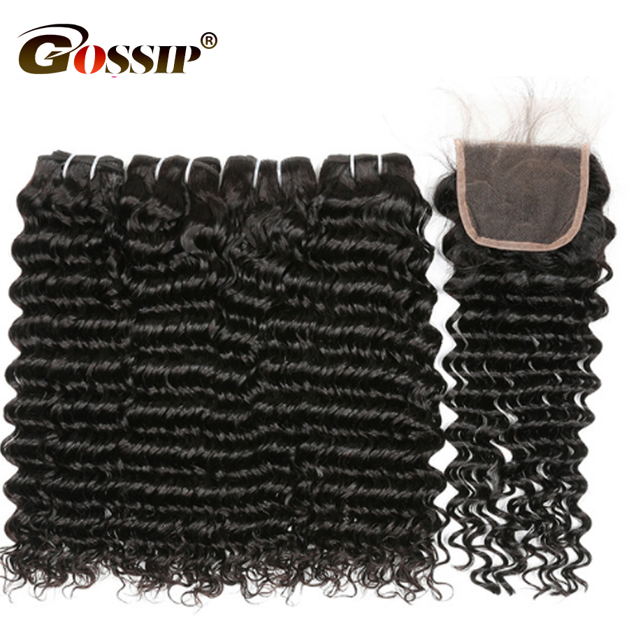 Malaysian Hair Bundles With Closure Deep Wave Human Hair Bundles Gossip Hair Remy Hair Closure With