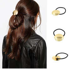 Elastic hair bands with golden metal glazed circle women hair accessories for ponytail