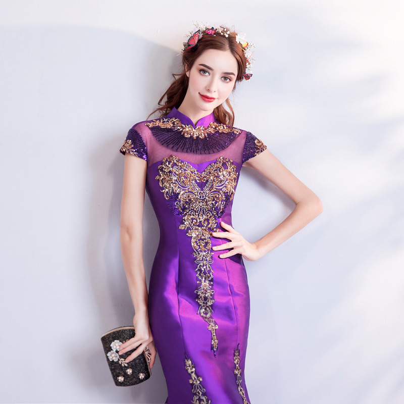 2019 New Young Mother Purple Chinese Embroidery Slim Fishtail Mandarin Collar Brief Cheongsam2019 New Young Mother Purple Chinese Embroidery Slim Fishtail Mandarin Collar Brief Cheongsam