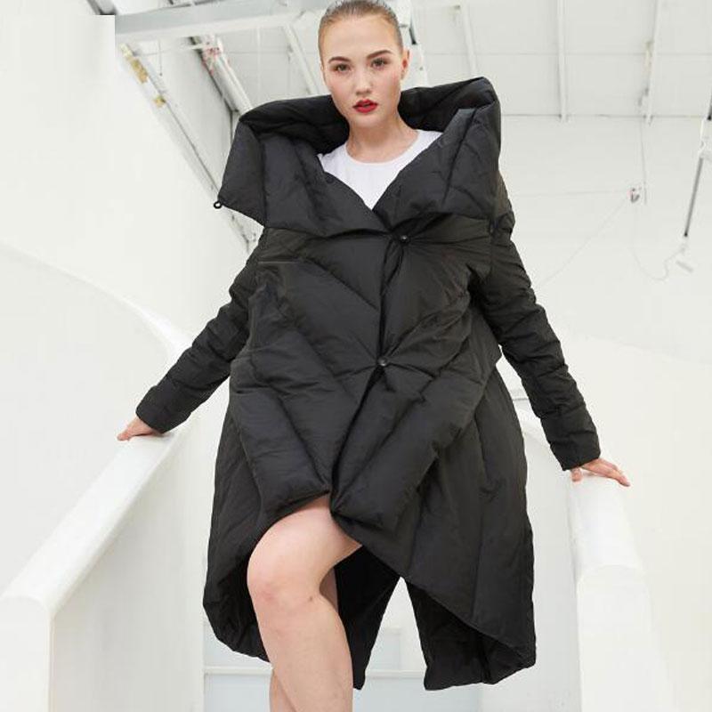 Pardessus Veste Plus Black Nouvelle Parka Long Femmes Femelle La Chaud Bas 2018 Taille D'hiver Lâche Le Hiver Bn6197 Vers Couture Manteau FqrpFSn