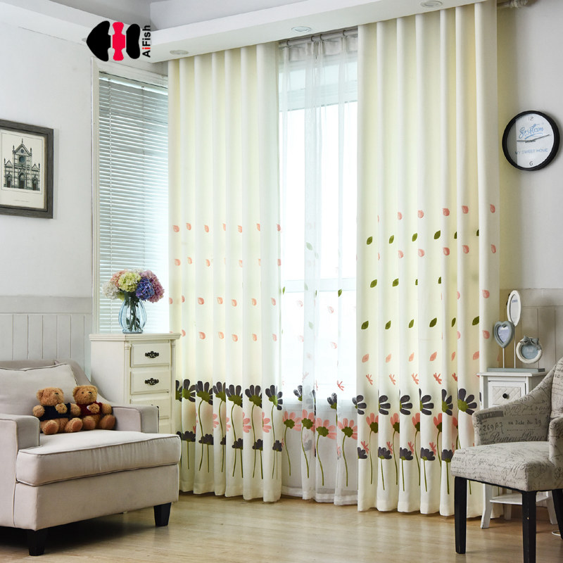 Floral embroidered blackout curtains for living room - Childrens bedroom blackout curtains ...