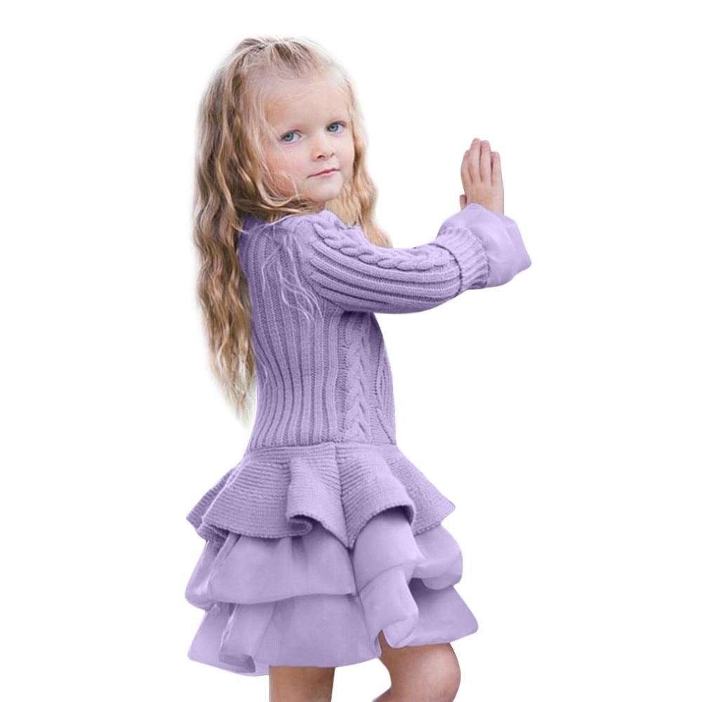 Neue Mode Kinder Mädchen Gestrickte Pullover Winter Pullover Häkeln Tutu Kleid Tops Kleidung roupas infantis menina ###