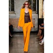 Jacket+Pants Orange Business Pants Suits For Women Slim Fit Office Uniform Style Ladies Pant Suits 2 Piece Set Blazer Custom 252