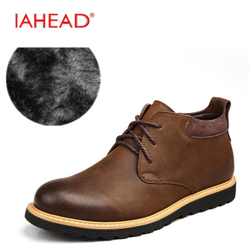 IAHEAD Men Shoes New 2017  Men Split Leather Boots Fashion Lace-Up Winter Shoes Men Military Boots botas hombre MU520 iahead men boots ankle lace up military boots high quality genuine leather shoes men fashion winter shoes cowboy boots mh547