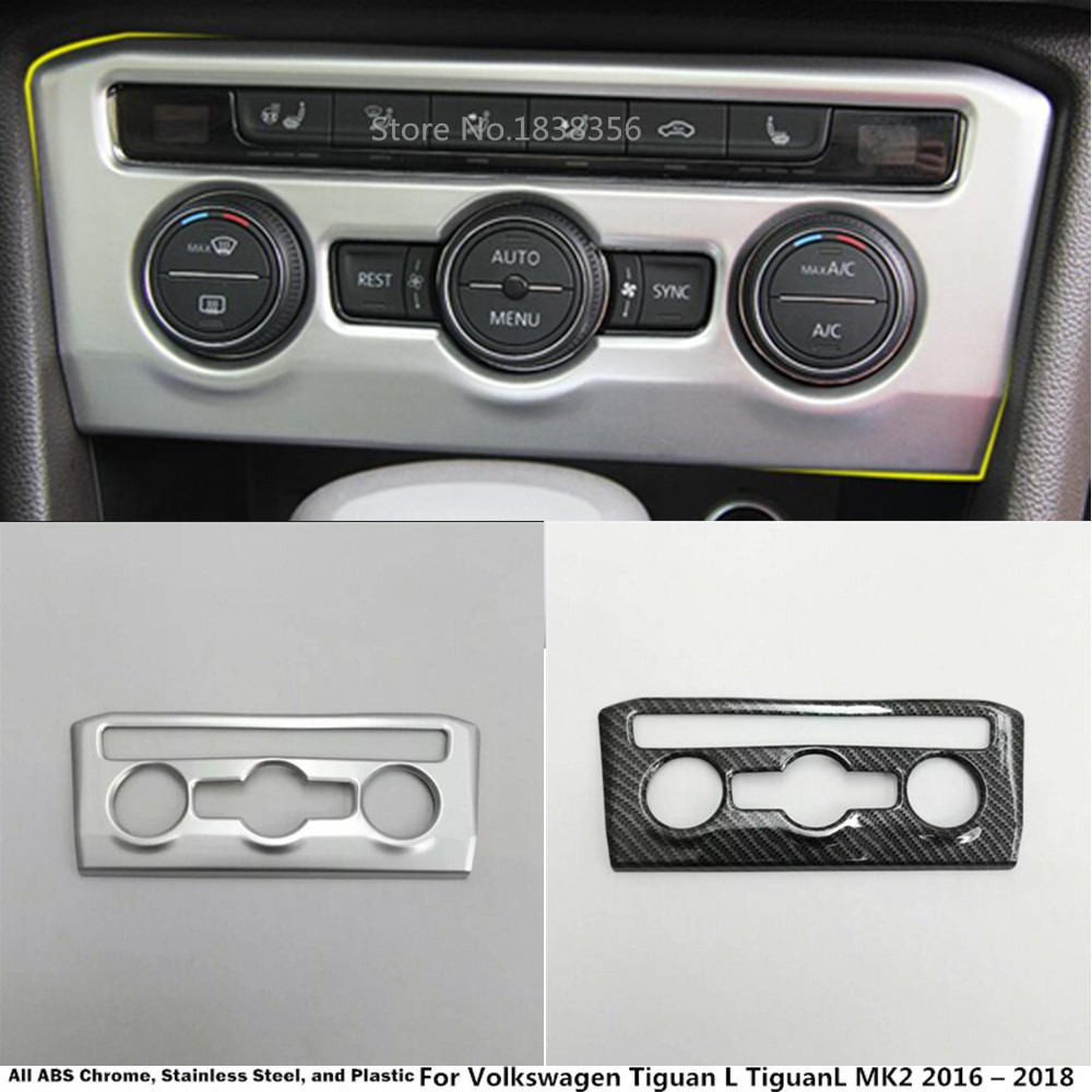 For VW Volkswagen <font><b>Tiguan</b></font> L TiguanL MK2 2016 2017 2018 <font><b>2019</b></font> 2020 ABS Chrome Console Temperature Volume Switch Frame Lamp Panel image