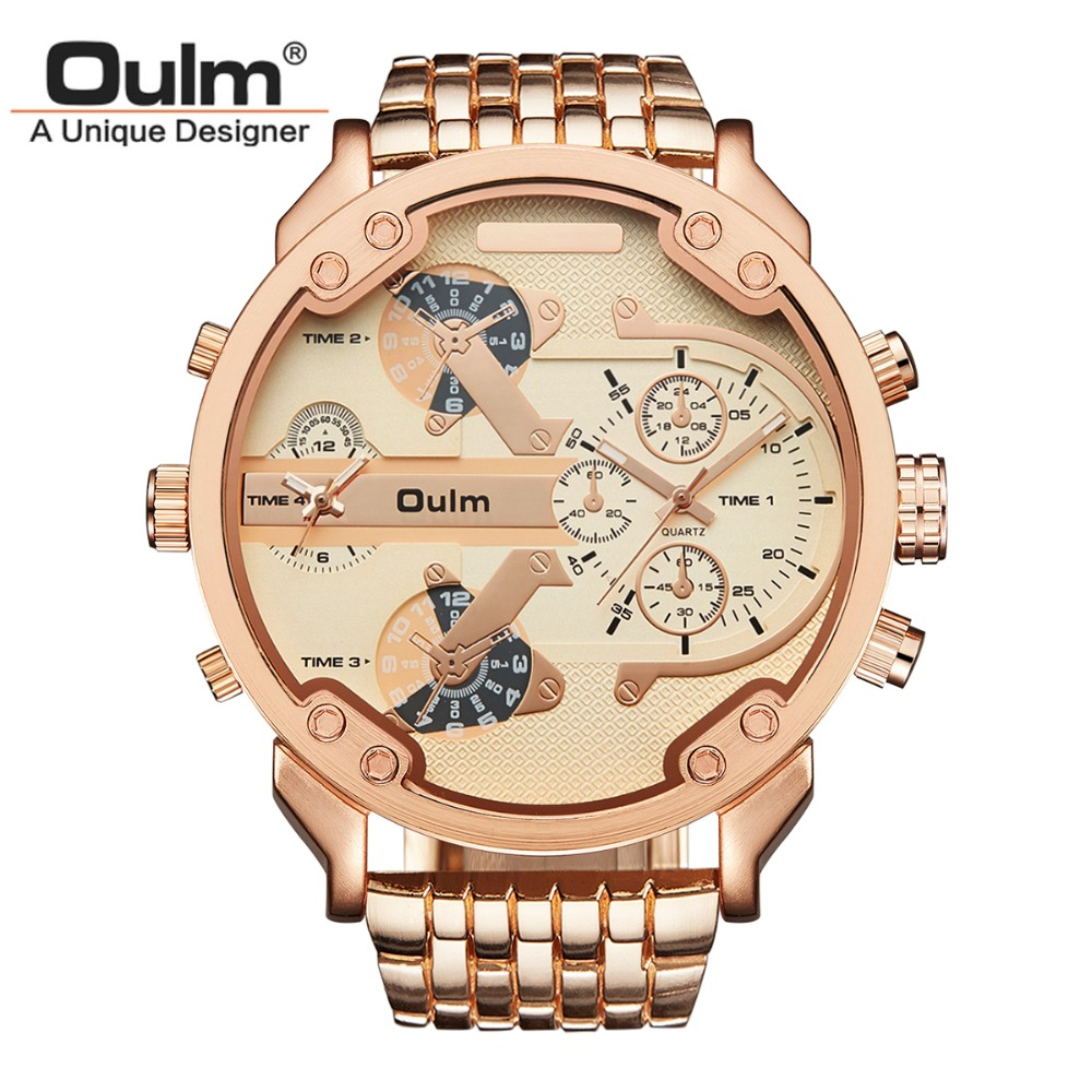 Oulm Brand Military Watches Rose Gold Big Dial Quartz Watch 2 Time Zones Men Full Stainless Steel Wristwatch relogio masculinoOulm Brand Military Watches Rose Gold Big Dial Quartz Watch 2 Time Zones Men Full Stainless Steel Wristwatch relogio masculino