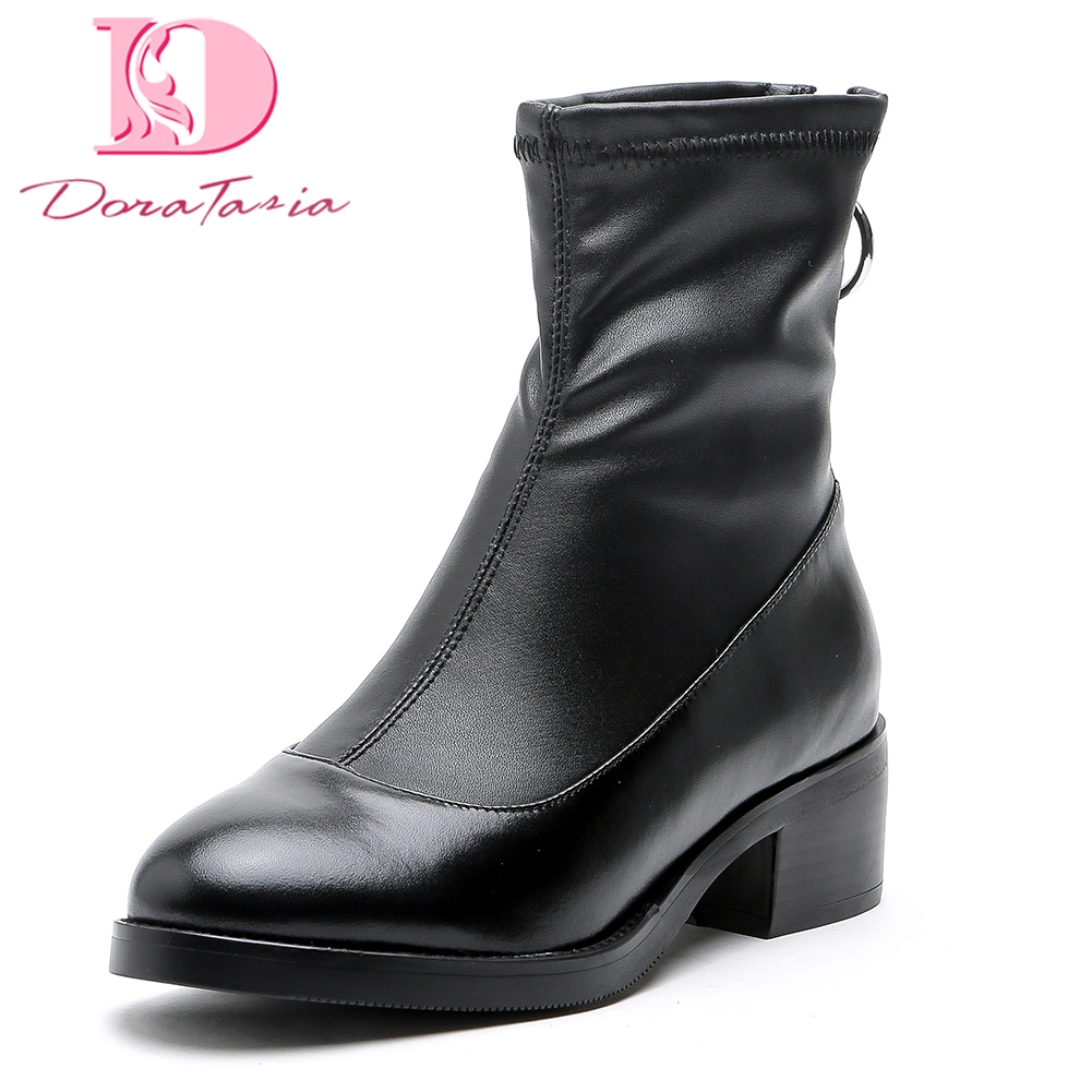 Doratasia New Genuine Leather Large Size 33-43 Cow Leather Square Heels Zip Up Ankle Boots Autumn winter women Boots Shoes Woman hot sale new 2017 new sexy genuine leather black boots rivet square heels autumn winter ankle boots sexy shoes woman size 34 43