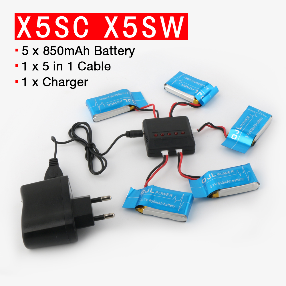 For Syma X5SW X5SC X6SW RC Quadcopter RC Drone Battery 3.7V 850mAh Lipo Battery Spare Parts with 5 in1 cable syma x5hc x5hw rc quadcopter parts 5 pcs 3 7v 600mah lipo battery with 5 in1 usb charger adapter cable drone spare parts set