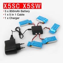 Для SYMA x5sw x5sc x6sw Радиоуправляемый квадрокоптер Радиоуправляемый Дрон Батарея 3.7 В 850 мАч lipo Батарея запасных Запчасти с 5 in1 Кабель