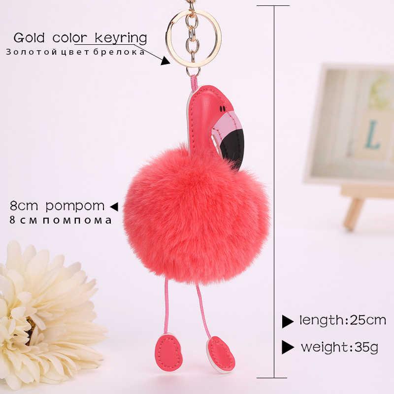 ZOEBER Flamingo Chaveiro Fofo Falso Pele De Coelho Bola Pompom Keychain Saco Pompom Pom Pom Chave do Anel Chave Do Carro Anéis jóias Mulheres