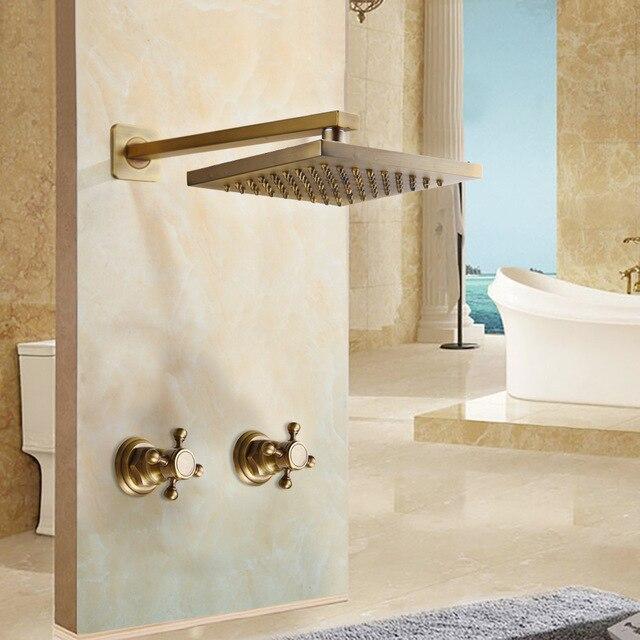 Набор душевых смесителей 8 дюймов, античная латунь, круглая квадратная настенная насадка для ванной, 2 ручки душевые наборы для душа - Цвет: Золотой