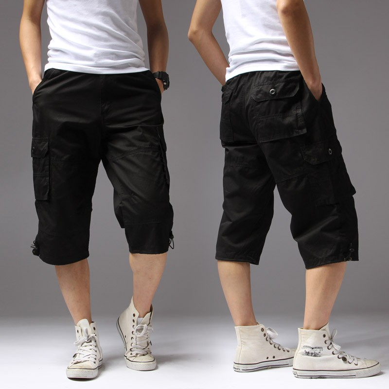 Summer Men's Casual Shorts Regular Solid Pockets Khaki Black Cotton Shorts Men Cargo Shorts Men Army Men's Shorts Big Size 5XL
