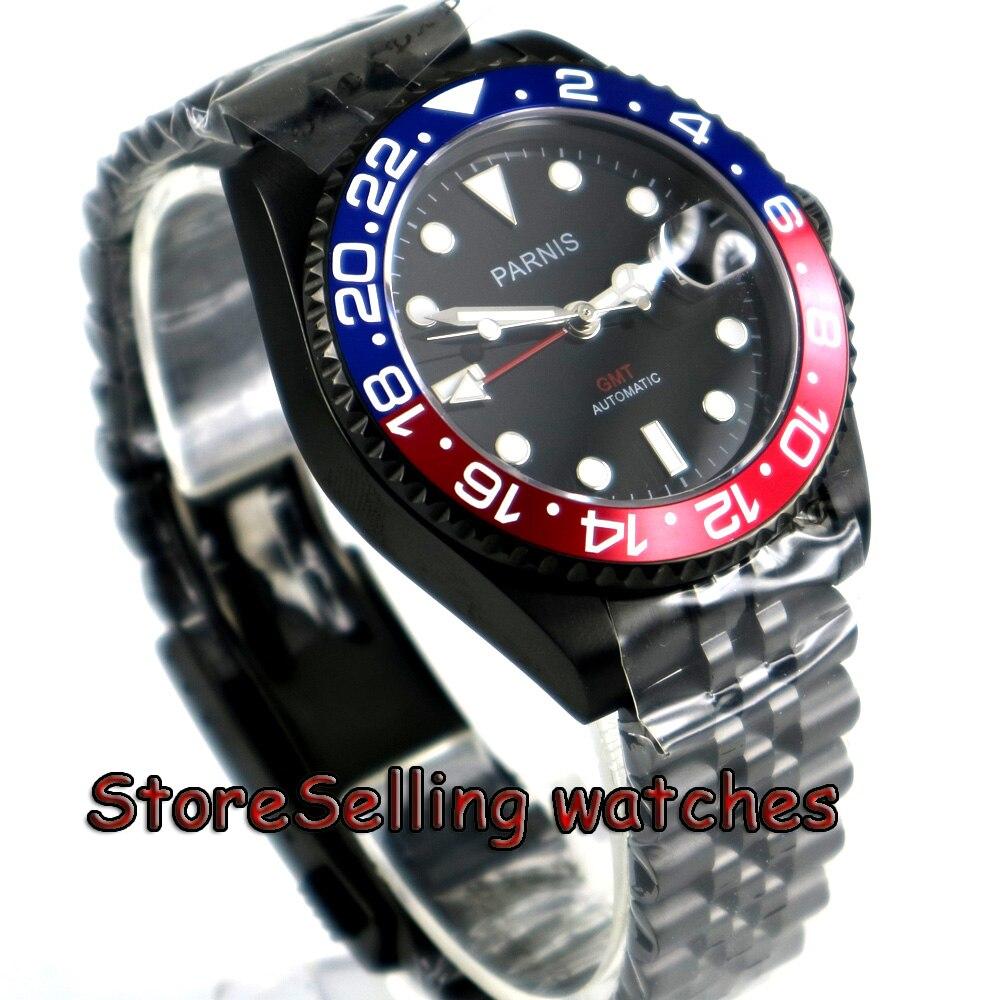 Мм 40 мм Parnis черный циферблат Пепси ободок PVD корпус PVD юбилейный стиль ремешок GMT окошко даты автоматические мужские часы
