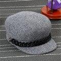 Snapback 2015 fall fashion winter white wool fedora hat Flat Cap Along Hip-Hop Colored Wool Baseball Caps Pure For Men Women