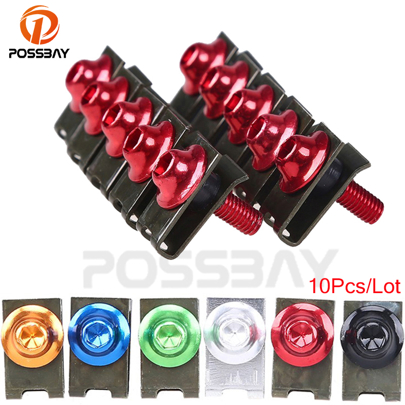 POSSBAY 10PCS M5 Motorcycle Fairing Body Spring Bolts Nuts Spire Speed Fastener Clips Screw Scooters For Honda Yamaha Kawasaki