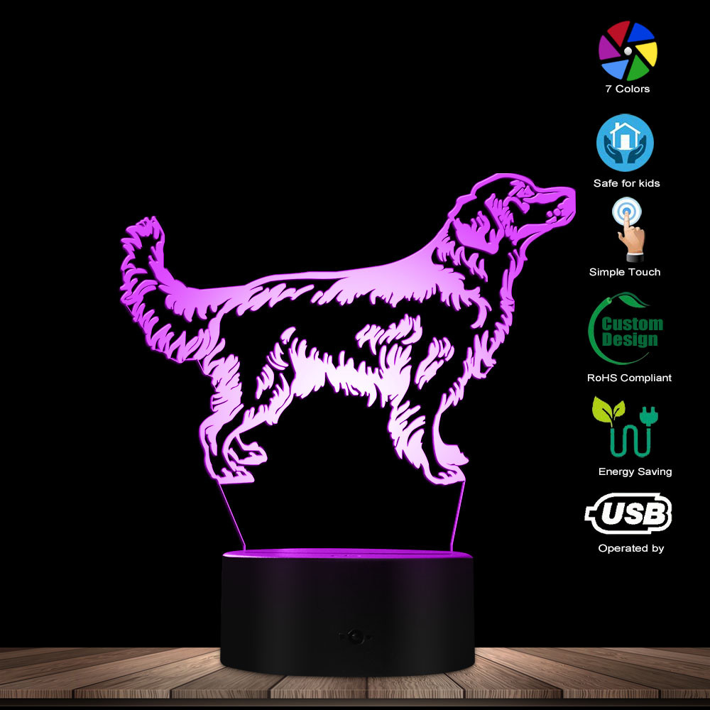 3D Golden Retriever Dog LED Night Light Customiz Name Pet Visual Desk Lamp Decorative Lighting Puppy Sleepy Light Dog Lover Gift