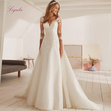Liyuke Wedding Dress A Line Half Sleeves Court Train