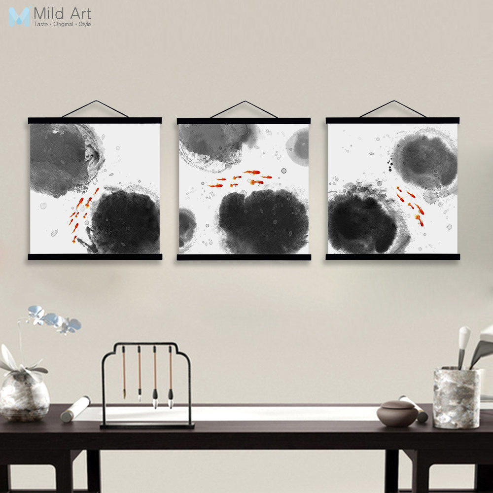 Oriental Modern Black White Chinese Ink Calligraphy Fish Framed ...
