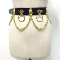 Customised Handmade Unisex Men Women Black Gold Leather Waist Belt Heavy Duty Gothic Bondage Circle Metal Chain Link Waist Strap