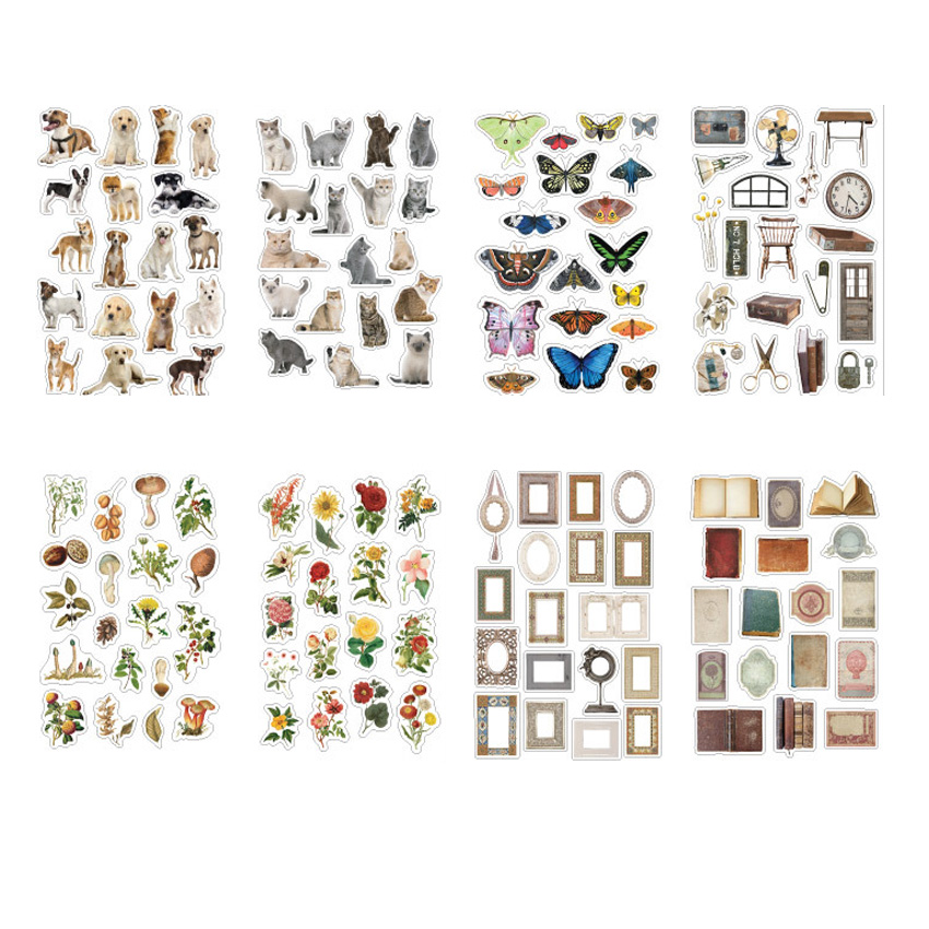36pcs/pack Animal And Plant Retro Album DIY Decorative Stickers Eight Selection For Children