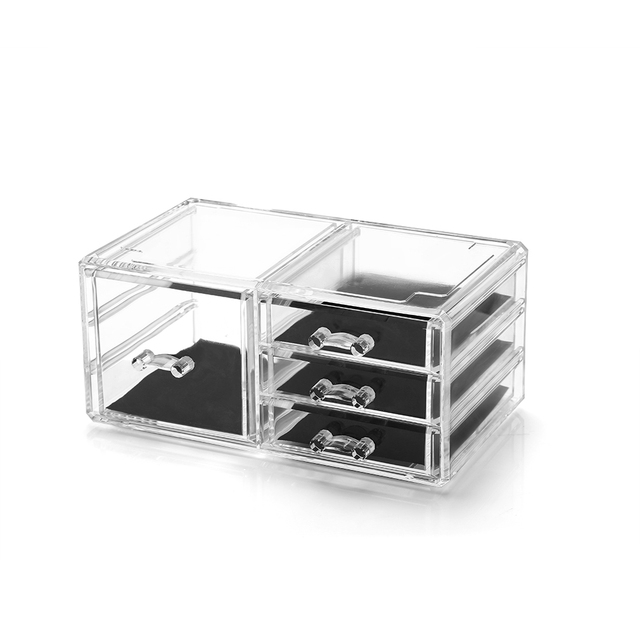 4 Drawers Makeup Cosmetic Organizer Clear Acrylic Drawer Case