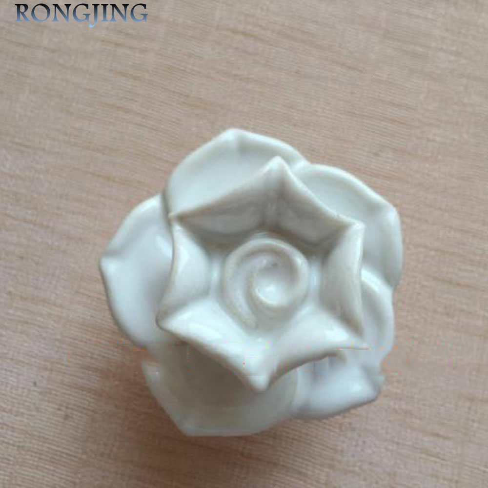 3x White Rose Ceramic Cabinet Drawer Knobs Porcelain Kids Wardrobe Handles Furniture Dresser Closet Cupboard Rural Vintage Pulls