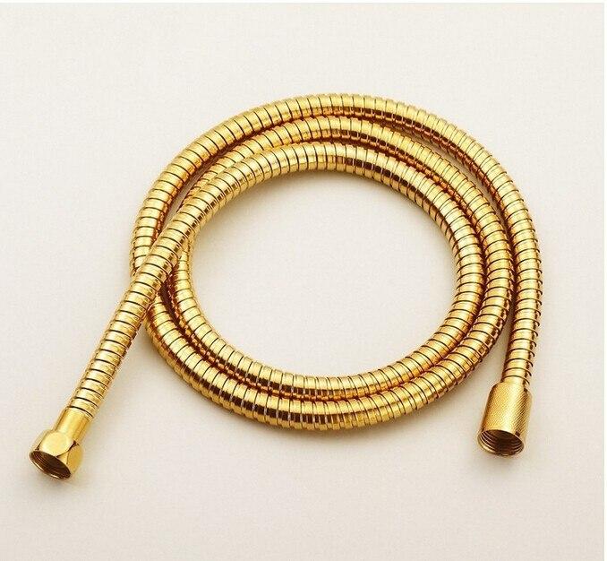 Lujo elegante gold 1.5 m tubo de la ducha de plomería de acero inoxidable manguera flexible de latón cabeza banheiro accesorios de baño sanitaria