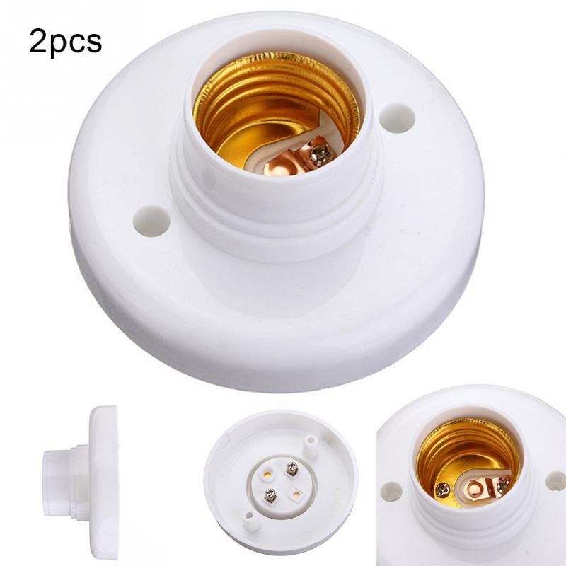 2pcs Useful E27 Round Plastic Base Screw Light Bulb Lamp Socket Holder White E27 Base Lamp Socket Popular Lamp Holder Hot replaceable plastic 8 pin din rail relay socket base holder