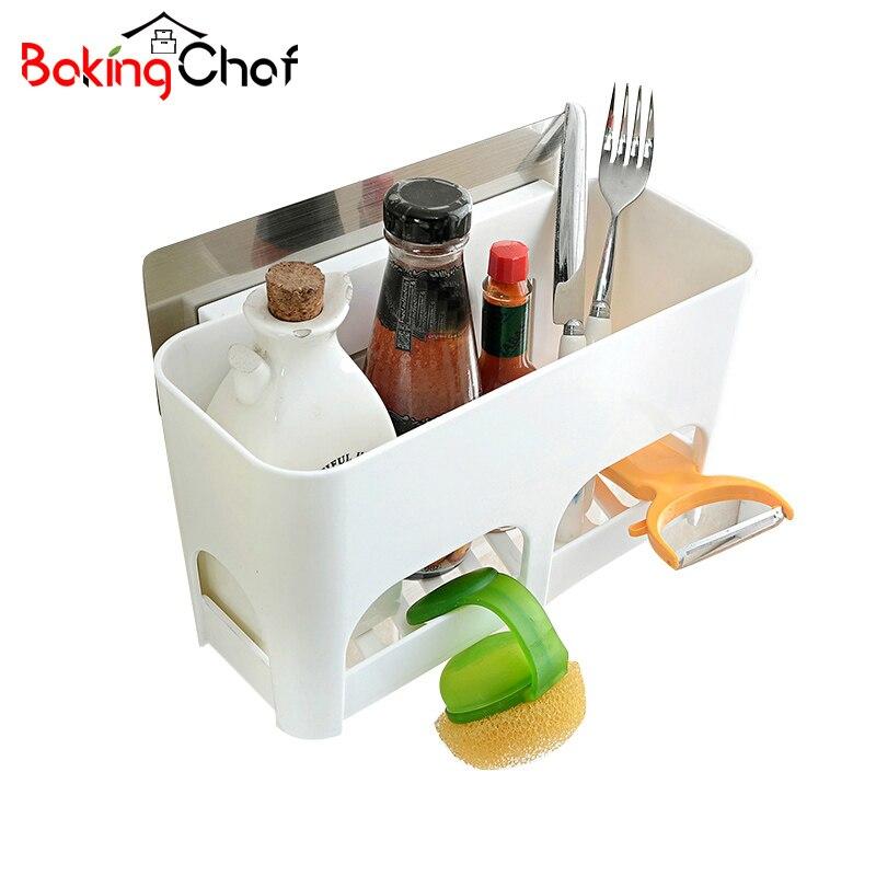 BAKINGCHEF Kitchen Bathroom Drain Storage Racks Non-trace Stick Tools Holder Home Sundries Organization Accessories Supplies