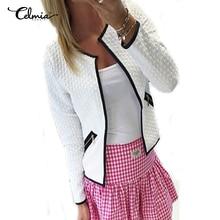 CELMIA Women Thin Coat Short Jacket 2016 Autumn Ladies Casual Long Sleeve Zipper Pockets Slim Fit Cardigan Outwear Plus Size Top