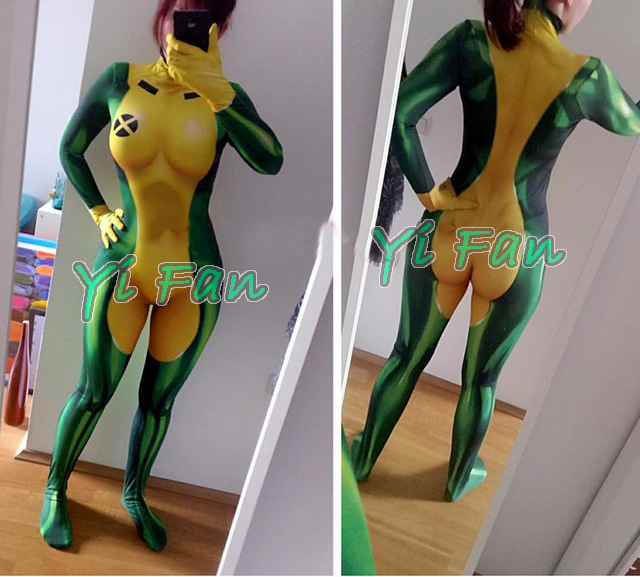 X-men Rogue Cosplay Superhero Costume Spandex 3D Print Woman Rogue Superhero Zentai Bodysuit Tight Zentai Freeshipping