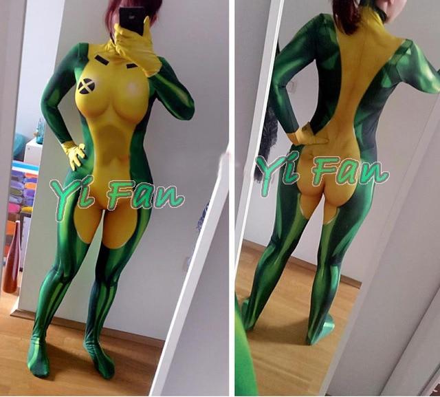 X-men Rogue Cosplay Superhero Costume Spandex 3D Print Woman Rogue Superhero Zentai Bodysuit Tight Zentai Freeshipping