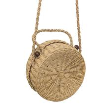 Straw Braided Round Rattan Bag Fashionab