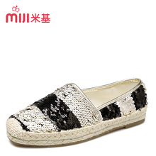 MiJi Women's Breathable espadrilles Slip on Flat Loafers sequin  Casual Shoes for woman 2016 new summer fashion MX-84