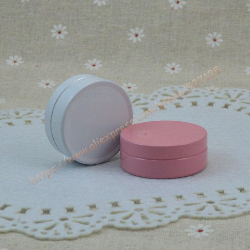 10g pink white aluminum jar tin can with aluminum lid metal tea tin 10ml sample mini