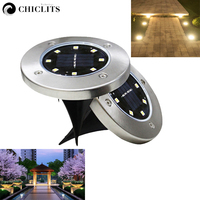 Chiclits 8Leds Solar Powered Ground Light 4PCS Waterproof Garden Pathway Deck Lights for Home Driveway Yard Lawn Road Lamp