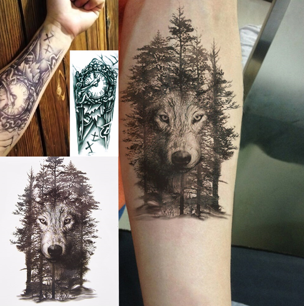 a45442840ede1 1 Pc Waterproof Temporary Tattoo Sticker Chest Clock Wolf Forest Tatto  Stickers